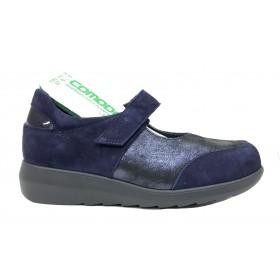 Pinoso's 15 7677-H Azul Marino, Zapato Mujer Pie Diabético, ante, plantilla extraíble y velcro