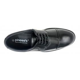 Pinoso's 7625 Negro, zapato de hombre, Ancho 13, cierre con Cordones, piso de goma y plantilla extraíble