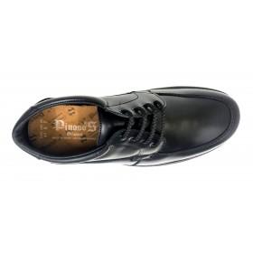 Pinoso's 7630-H Negro, Zapato de Hombre, Pie Diabético, ancho 14, piso de goma y plantilla extraíble viscolátex