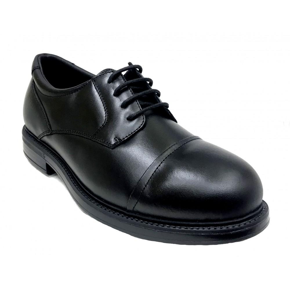 Pinoso's 7714-H Negro, Zapato de Hombre, Pie Diabético, piel napa, piso de goma, cordones y plantilla extraíble