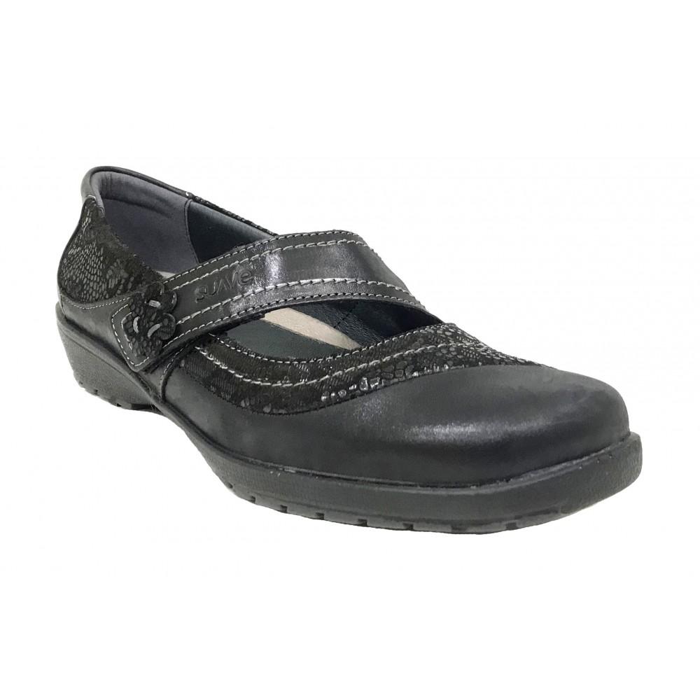 Suave 64B 3019 Cinder Negro, Mercedes Mujer, cierre con velcro, piso de goma con cuña de 2,5 cm y plantilla extraíble
