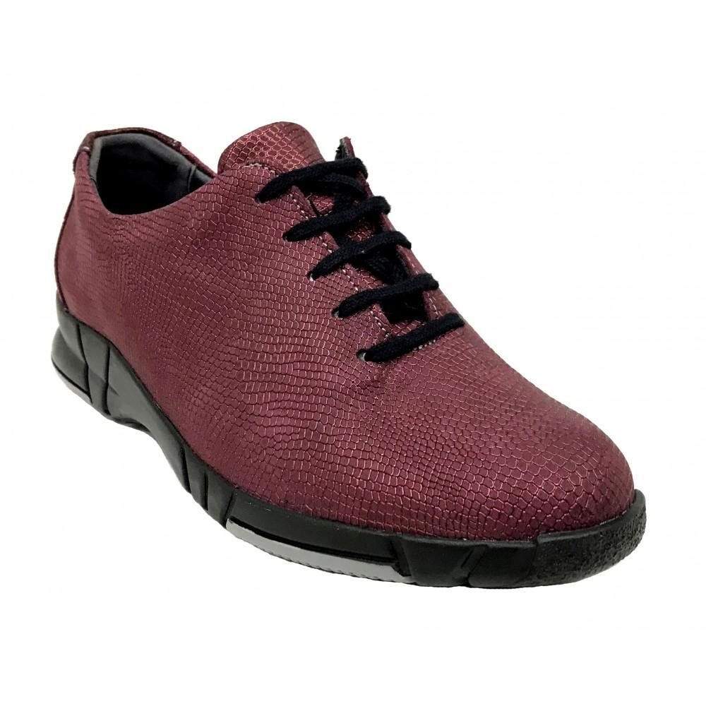 Suave 94 3204 Granate Monza, Zapato deportivo de Mujer, burdeos, piso de goma flexible con cuña 3 cm, cordones y plantilla
