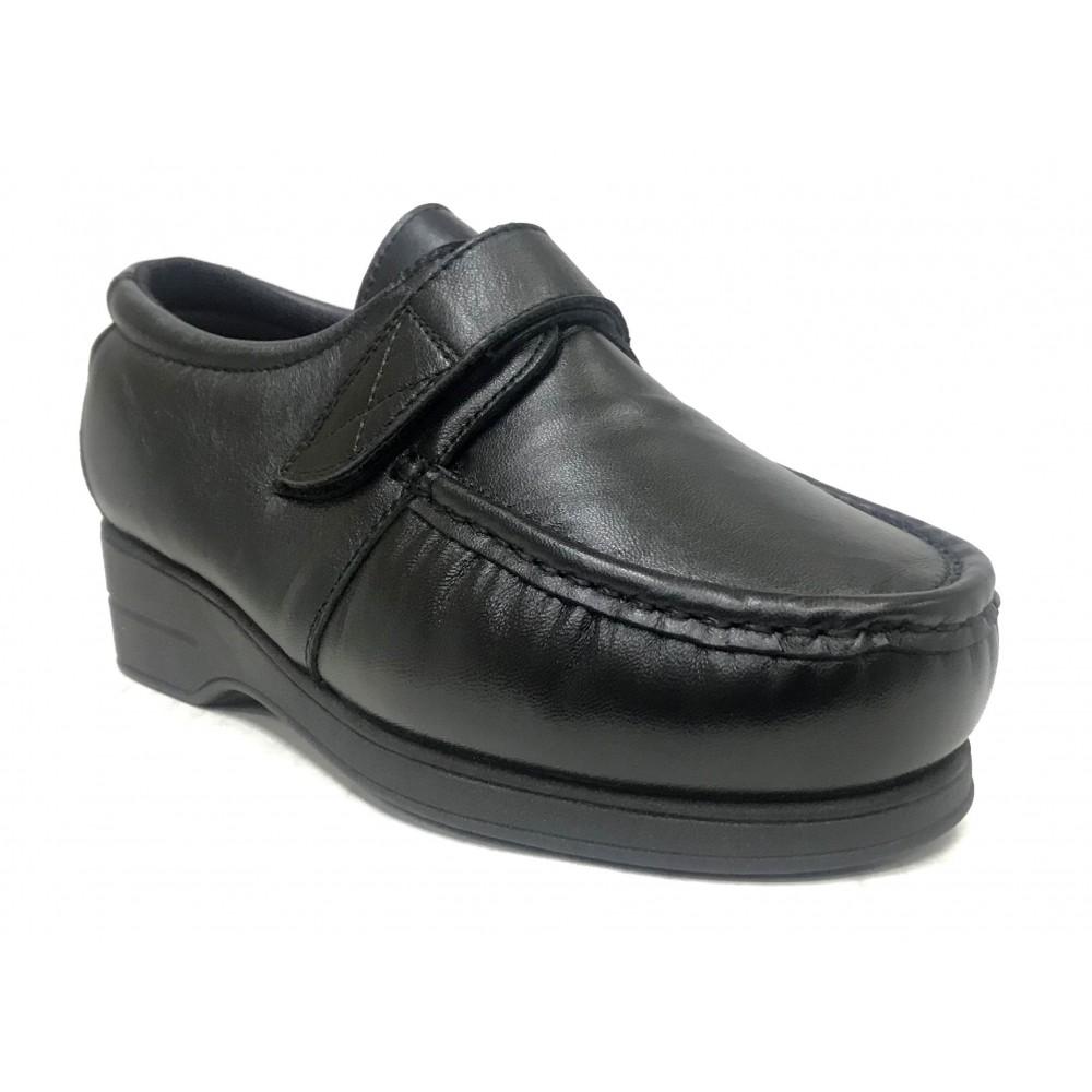 Pinoso's 01 5627-H Negro, Zapato Mujer, Pie Diabético, plantilla viscolátex, velcro y cuña