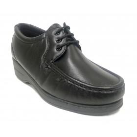 Pinoso's 12 6514 Negro, Zapato de mujer, kiowa, piel napa, cordones, plantilla y piso cosido