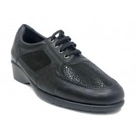 Flex&go 44 4775 zapato deportivo de mujer, negro, piel y charol, cordones y plantilla extraíble