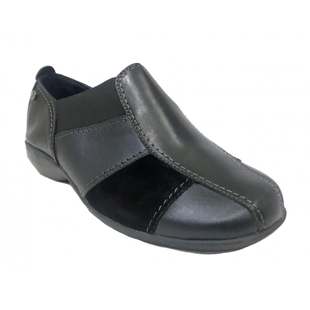 Flex&go 45 4711-3 zapato de mujer, negro metalizado, piel y ante, piso de goma pegado