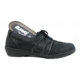 Suave 01 3005 Negro, zapato de mujer, piel nubuck, piso de goma con cuña de 2,5 cm, cordones y plantilla extraíble
