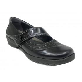Suave 02A 3019 Negro, zapato mercedes de mujer, piso de goma con cuña de 2,5 cm, piel lisa, velcro y plantilla extraíble