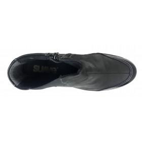 Suave 12 3723 Negro Botín de Mujer con Cremallera, piso de goma 4cm y plantilla extraíble