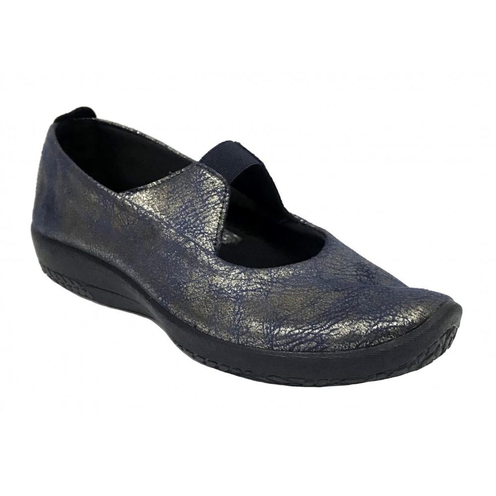 Arcopedico 4671 E57 Navy metalizado, Zapato de Mujer, membrana Lytech, piso con doble arco, elástico y cuña de 3 cm