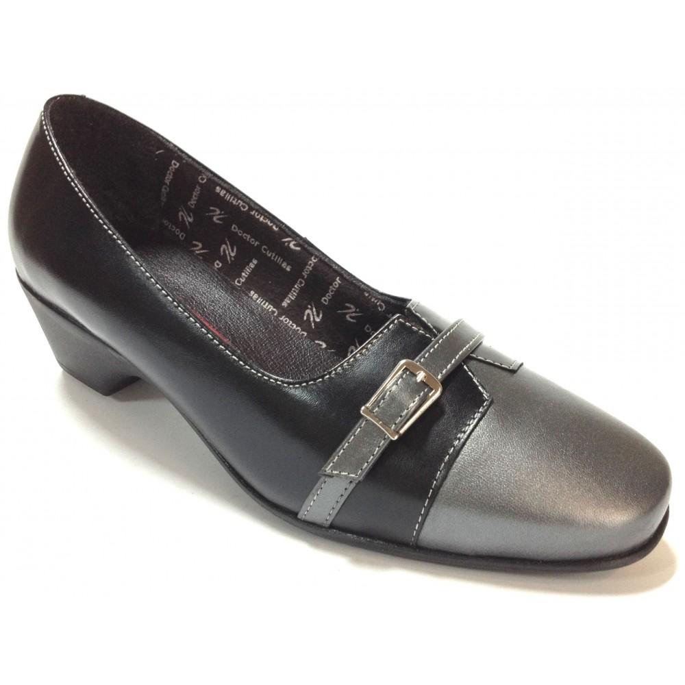 Doctor Cutillas 02 20133 Combi Negro Gris, zapato mocasín, piel, tacón de 4,5 cm, adorno hebilla puntera, forro textil