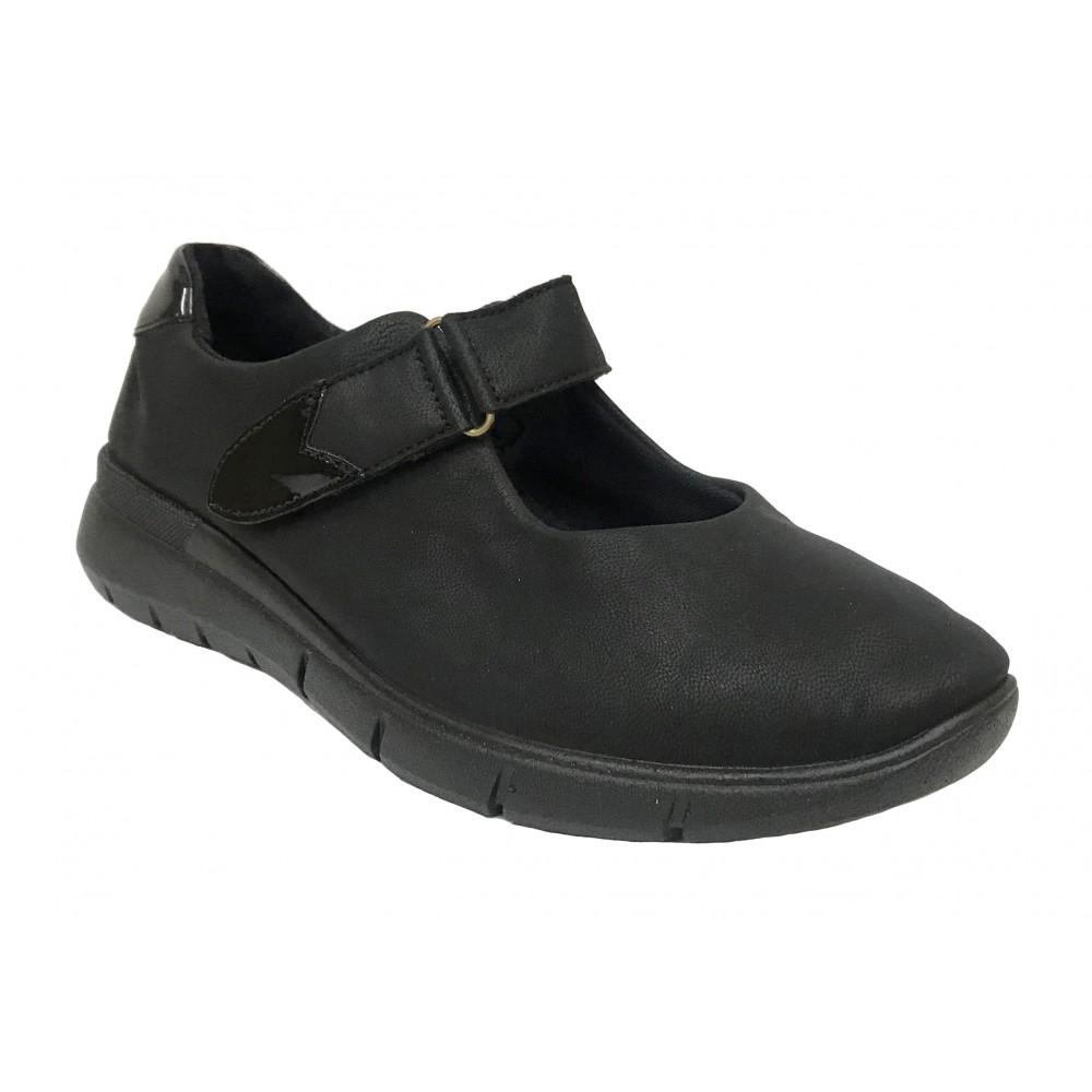 Arcopedico 4765 L78 Negro, zapato deportivo mercedes de mujer, lytech, piso ligero, cierre con velcro y plantilla extraíble