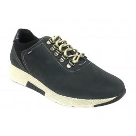 Baerchi 06 36252 Nubuck Azul, Zapato deportivo de Mujer, piel, plantilla extraíble, cuña 3 cm y cordones elásticos