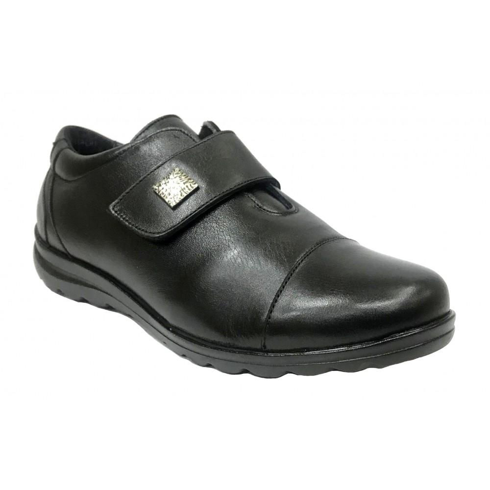 Baerchi 07 34159 Negro, Zapato de Mujer, piel muy blanda, plantilla extraíble, cuña 2,5 cm, velcro y piso flexible