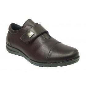 Baerchi 08 34159 Borgoña, Zapato de Mujer, piel muy blanda, plantilla extraíble, cuña 2,5 cm, velcro y piso flexible