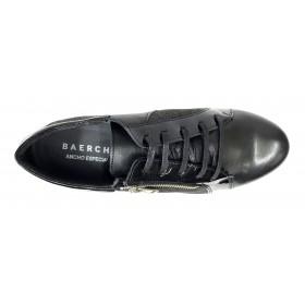 Baerchi 09 36301 Negro, Zapato de Mujer, piel, plantilla extraíble, cuña 3,5 cm, cremallera, cordones y piso de goma