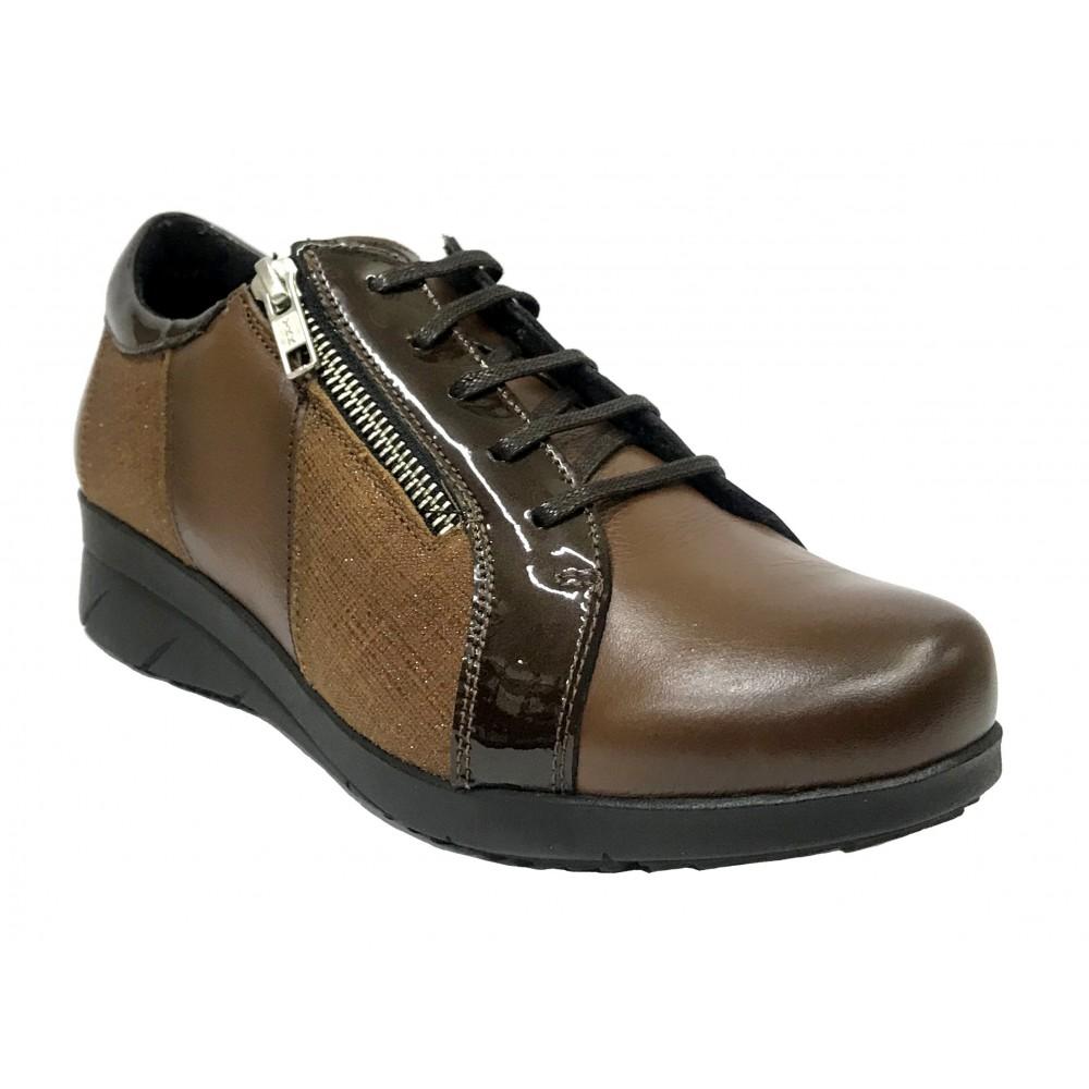 Baerchi 10 36301 Tabaco, Zapato de Mujer, piel, plantilla extraíble, cuña 3,5 cm, cremallera, cordones y piso de goma