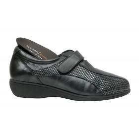 Doctor Cutillas 09C 53521 Plomo, Zapato de Mujer, deportivo, piel, licra, velcro, cuña 2,5 cm y plantilla extraíble
