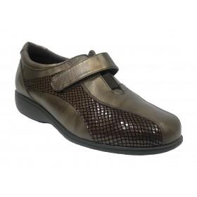 Doctor Cutillas 09D 53521 Marrón, Zapato de Mujer, deportivo, piel, licra, velcro, cuña 2,5 cm y plantilla extraíble