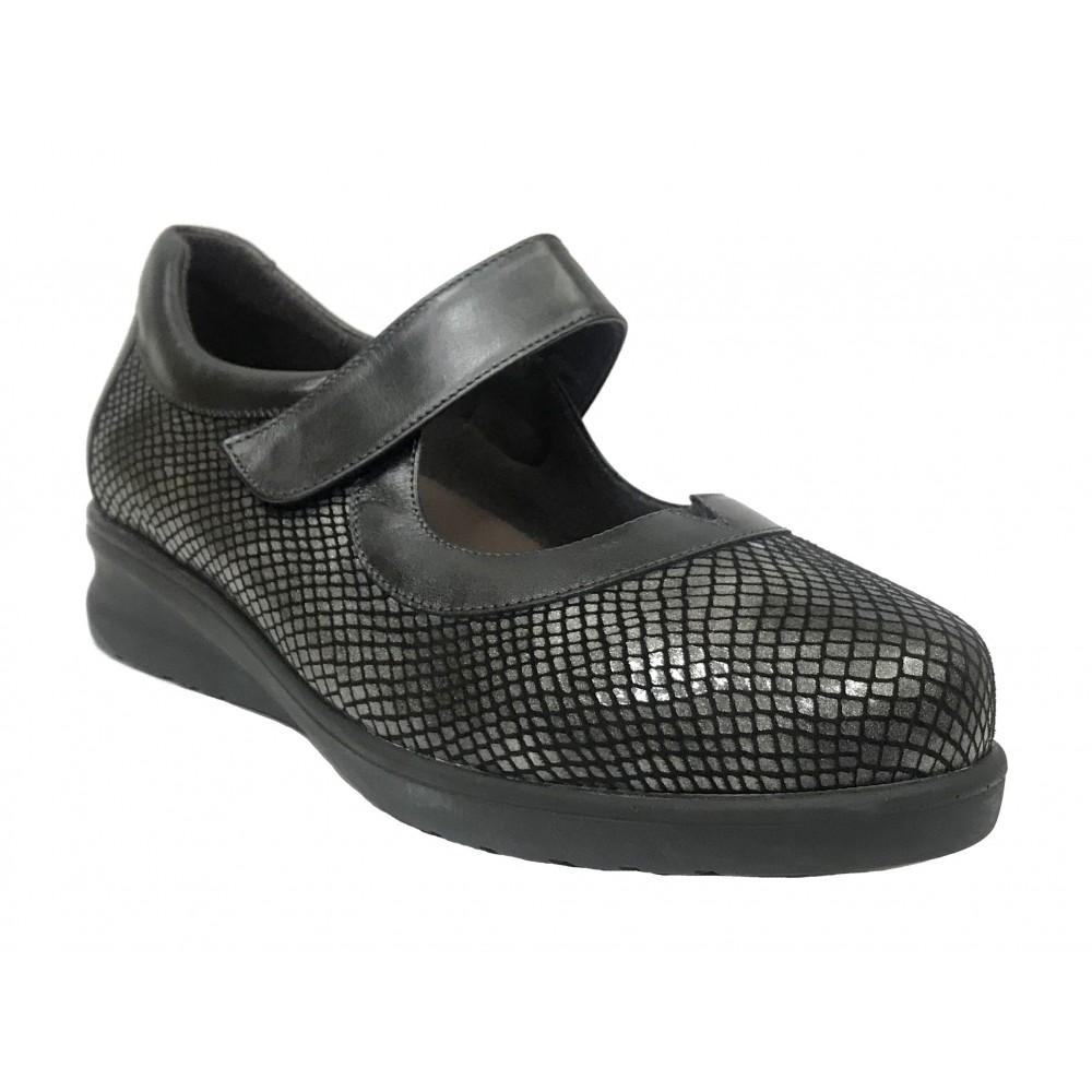 Doctor Cutillas 16 54340 Plomo, Zapato de Mujer, mercedes, piel, licra, velcro, piso de goma con cuña 3 cm y plantilla extraíble