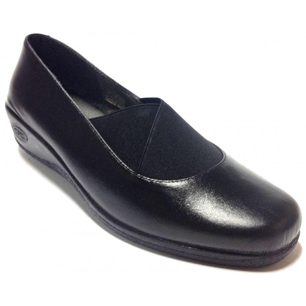 Doctor Cutillas 04 92409 Negro, zapato mocasín, piel, cuña de 4 cm, forro textil