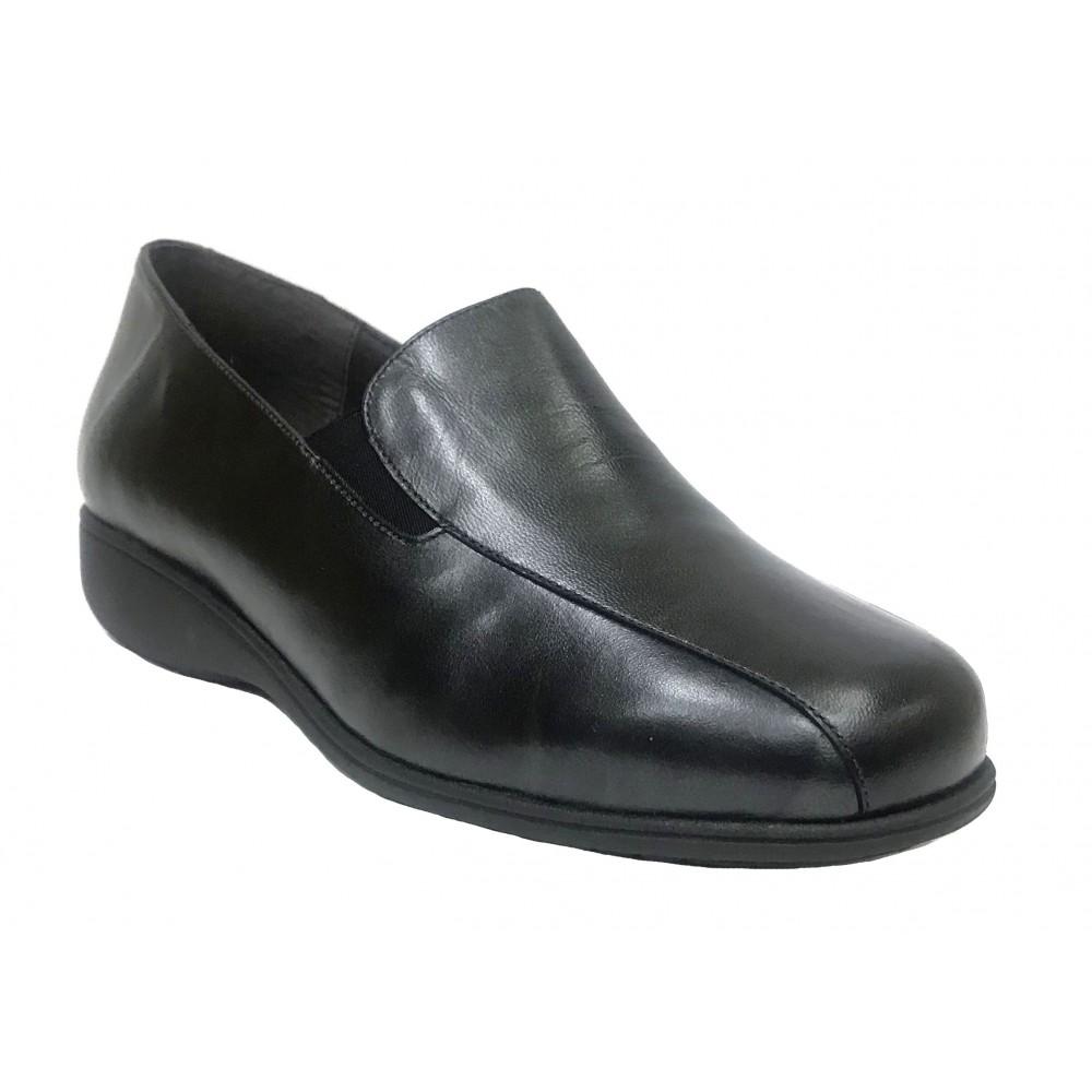 Doctor Cutillas 19 53544 Negro, zapato de mujer, piel y licra, elásticos, piso de goma ligero, cuña 2,5 cm y plantilla extraíble