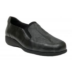 Doctor Cutillas 21 53546 Negro, zapato de mujer, piel y licra, elástico, piso de goma cuña 2,5 cm y plantilla extraíble