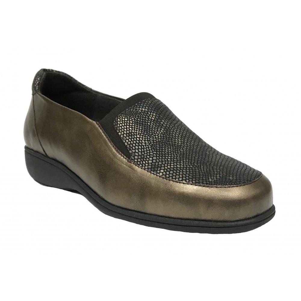 Doctor Cutillas 22 53546 Marrón, zapato de mujer, piel y licra, elástico, piso de goma cuña 2,5 cm y plantilla extraíble
