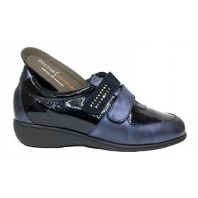Doctor Cutillas 24 53543 Marino, Zapato de Mujer azul, deportivo, piel, velcros, cuña 3 cm y plantilla extraíble