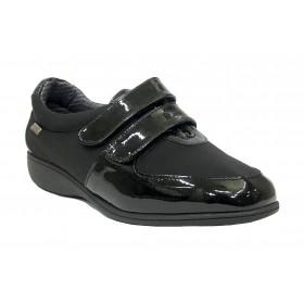 Doctor Cutillas 25 53553 Negro, Zapato de Mujer, membrana seco-tex, velcros, cuña 3 cm y plantilla extraíble