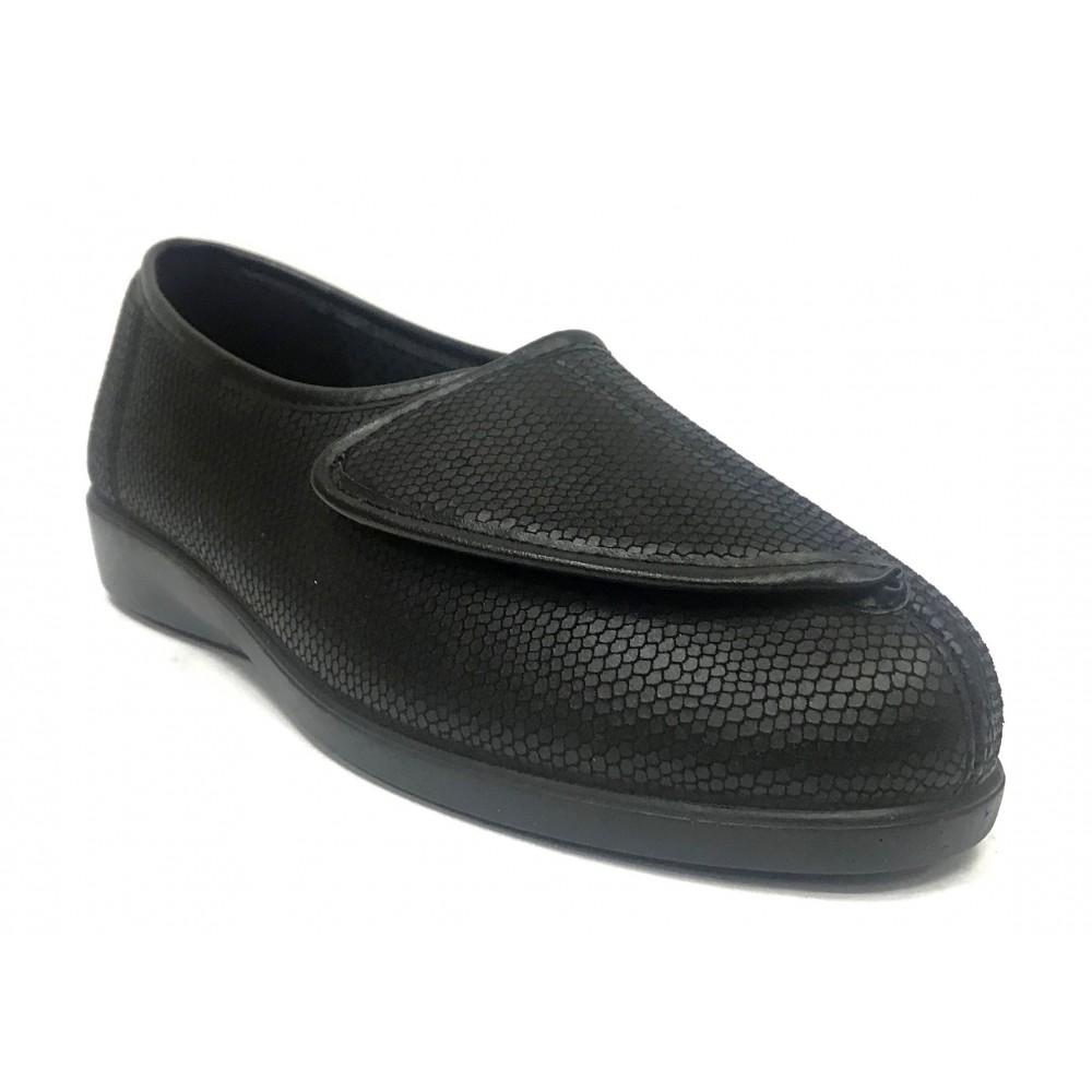 Doctor Cutillas 10293 Negro, zapatilla calle de mujer, piso de goma con cuña, licra, velcro, plantilla extraíble y horma ancha
