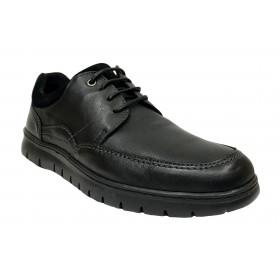 Baerchi 5316 Negro, zapato de hombre, piel, plantilla extraíble, cierre cordones y piso goma flexible