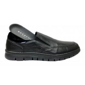 Baerchi 5317 Negro, zapato de hombre, piel, plantilla extraíble, elásticos empeine y piso goma flexible