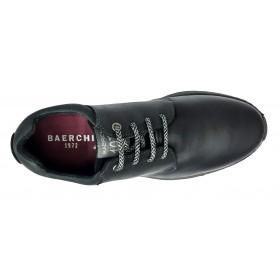 Baerchi 5240 Negro, zapato de hombre, deportivo piel, cierre cordones grises y piso goma flexible