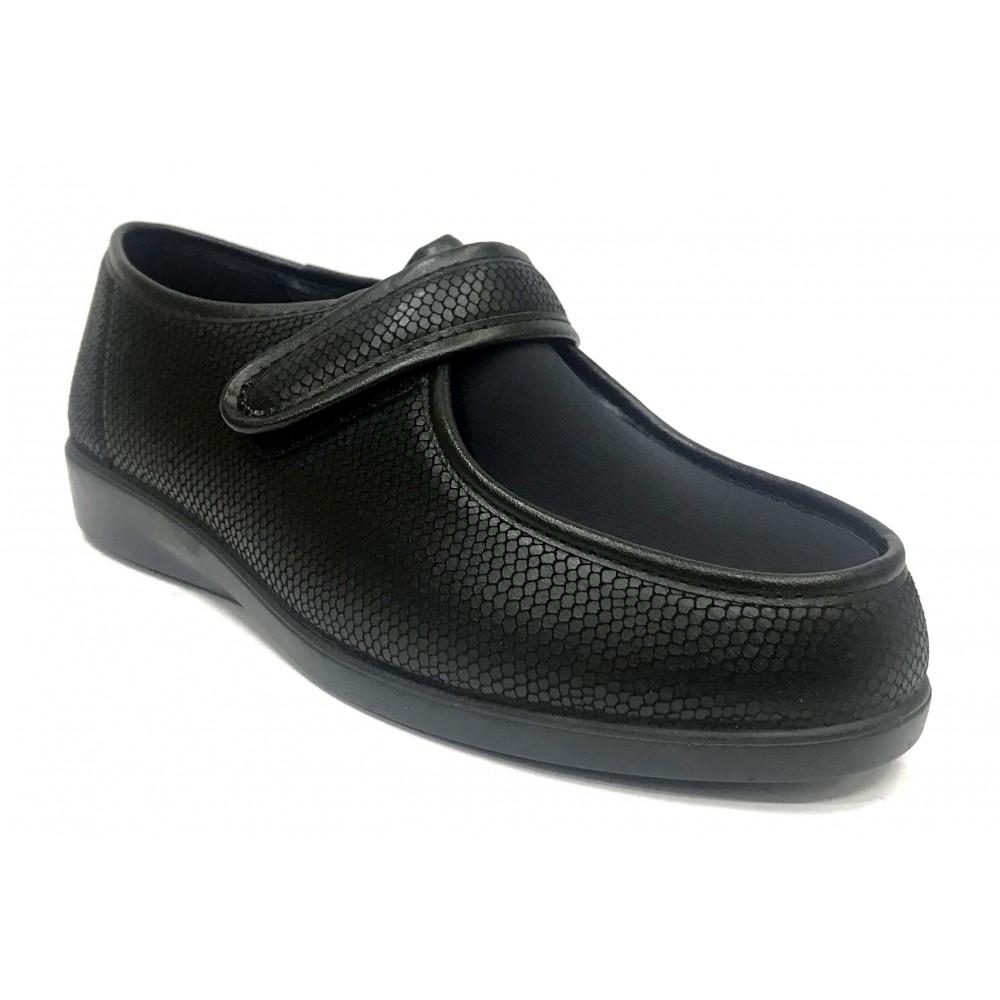 Doctor Cutillas 10292 Negro, zapatilla calle de mujer, piso de goma con cuña, licra, velcro, plantilla extraíble y horma ancha