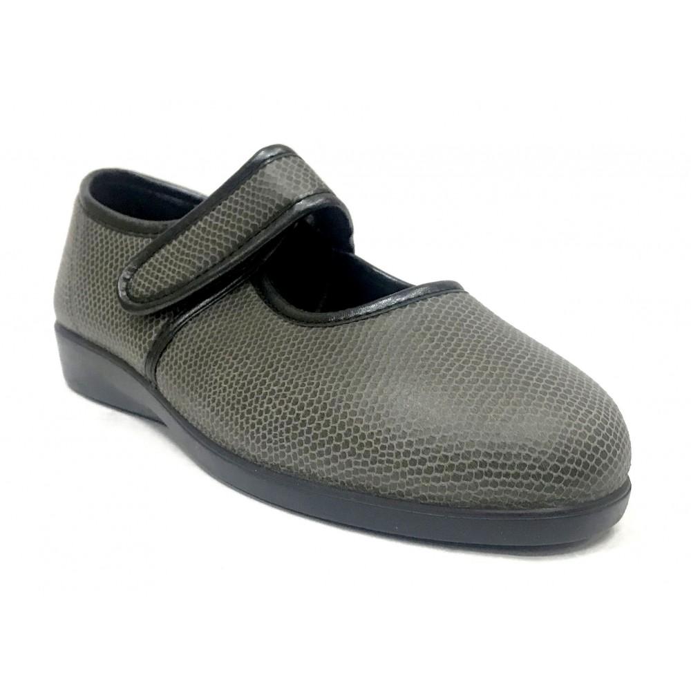 Doctor Cutillas 10291 Plomo, zapatilla invierno de mujer, velcro, horma extra ancha, piso de goma y plantilla extraíble