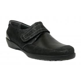 Suave 59C 3010 Negro, Zapato de Mujer, cierre con velcro, piso de goma con cuña de 3 cm y plantilla extraíble