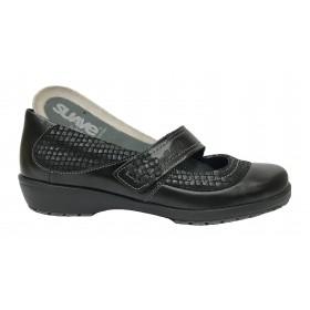 Suave 64C 3019 Negro, Mercedes de Mujer, piso de goma antidelizante con cuña de 3 cm, piel, cierre velcro y plantilla extraíble