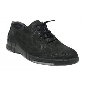 Suave 93A 3204 Negro Champang, Zapato deportivo de Mujer, piso de goma con cuña 3 cm, con cordones y plantilla extraíble