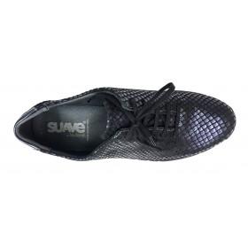 Suave 93B 3204 Airforce, Zapato deportivo de Mujer, azul marino, piel, cuña de 3 cm, cordones y plantilla extraíble