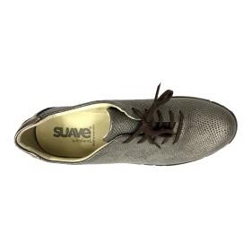Suave 93C 3204 Sepia Dorado, Zapato deportivo de Mujer, piel beig, cordones, piso de goma, cuña de 3 cm y plantilla extraíble