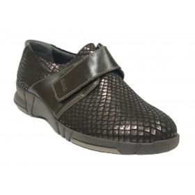 Suave 96 3203 Plum Hickory, Zapato marrón deportivo de Mujer, piso de goma con cuña de 3 cm, velcro y plantilla extraíble