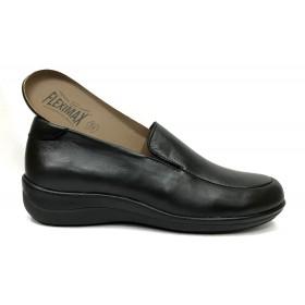 Fleximax 01A 150 Negro, Zapato de Mujer, piel Napa, confort, piso de goma con cuña y plantilla extraíble