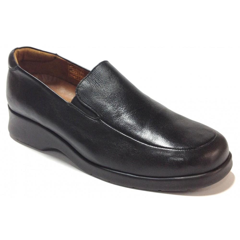 Fleximax 01 35 zapato mujer piel napa negro, plantilla extraíble, piso de goma