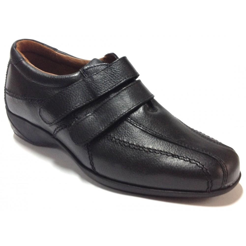 Fleximax 02 121 zapato mujer piel, negro, plantilla extraíble, piso de goma, dos velcros