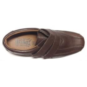 Fleximax 03 121 zapato mujer piel, marrón, plantilla extraíble, piso de goma, dos velcros