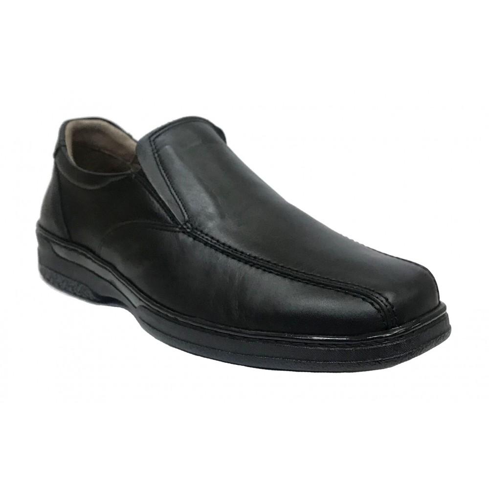 Primocx 6886 Negro, zapato hombre, diabético, piel suave, plantilla viscoelástica y piso de goma cosido