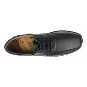 Primocx 6987 Negro, Zapato Hombre, Pie Diabético, piel, cordones, piso goma cosido y plantilla viscoelástica