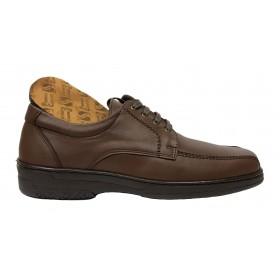 Primocx 6987 Marrón, Zapato Hombre, Pie Diabético, cordones, piso de goma, piel y plantilla viscoelástica