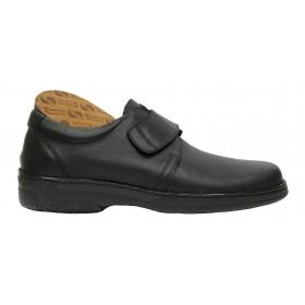 Primocx 6984 Negro, Zapato Hombre, Pie Diabético, piel, velcro, piso de goma cosido y plantilla viscoelástica